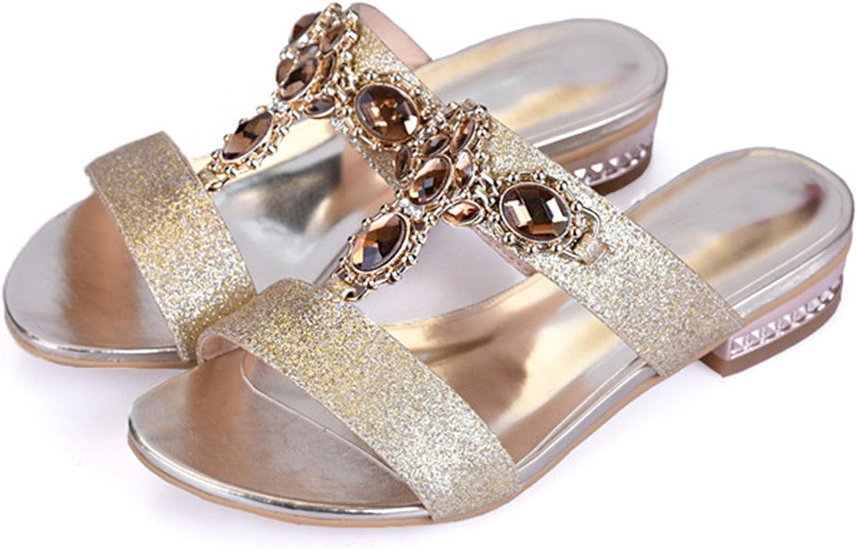 shoes Women Sandals Summer Rhinestone Ladies Slippers Open Toe Low Heel Slides Crystal Sandals Sliver gold Big Size 9 10