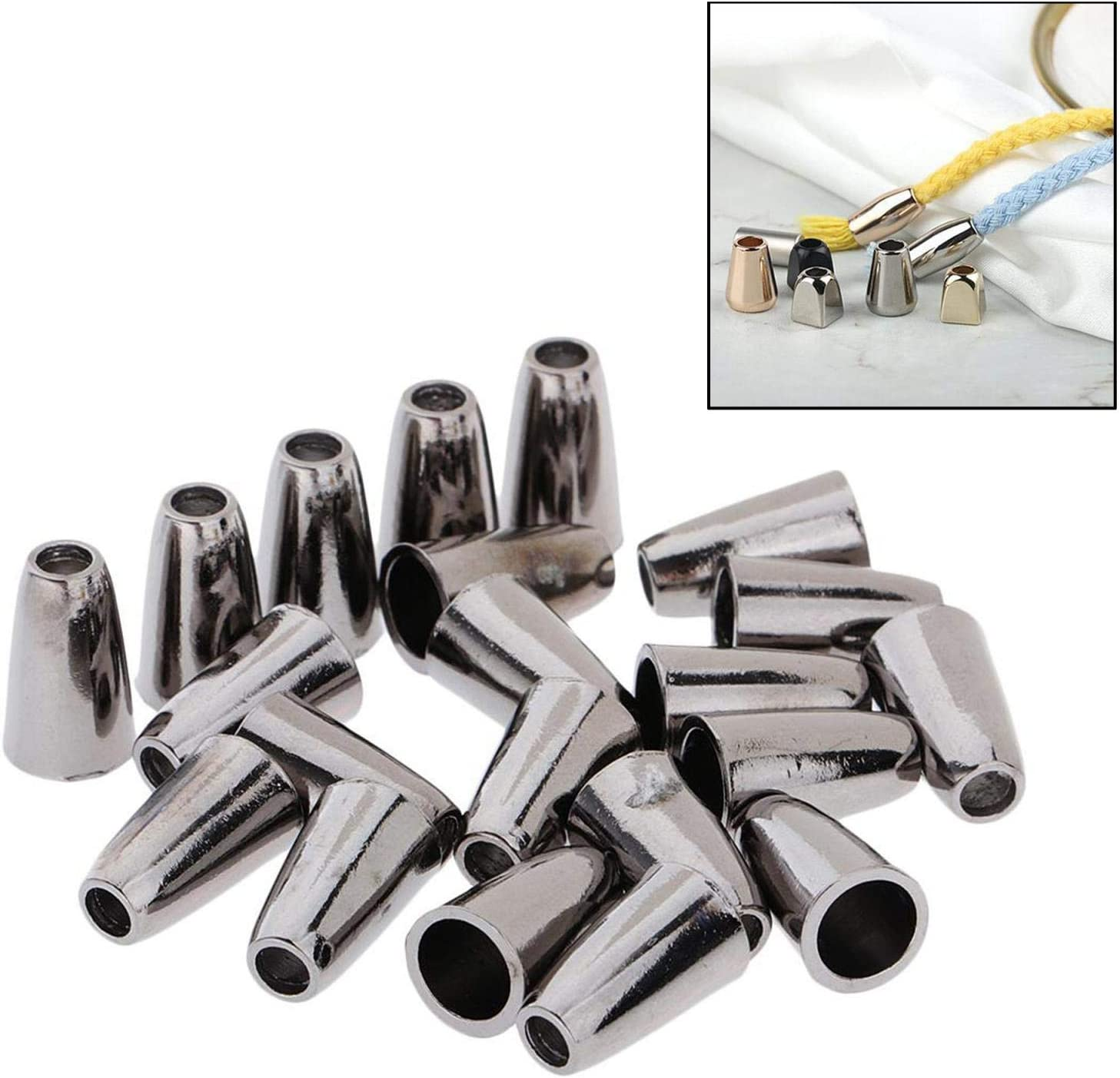 Gris milageto 20 Sets Metal Extremo tap/ón Cable Extremos de Cuerda cerraduras cord/ón Clips Sujetador artesan/ía de Costura 15mm Cordones Accesorios