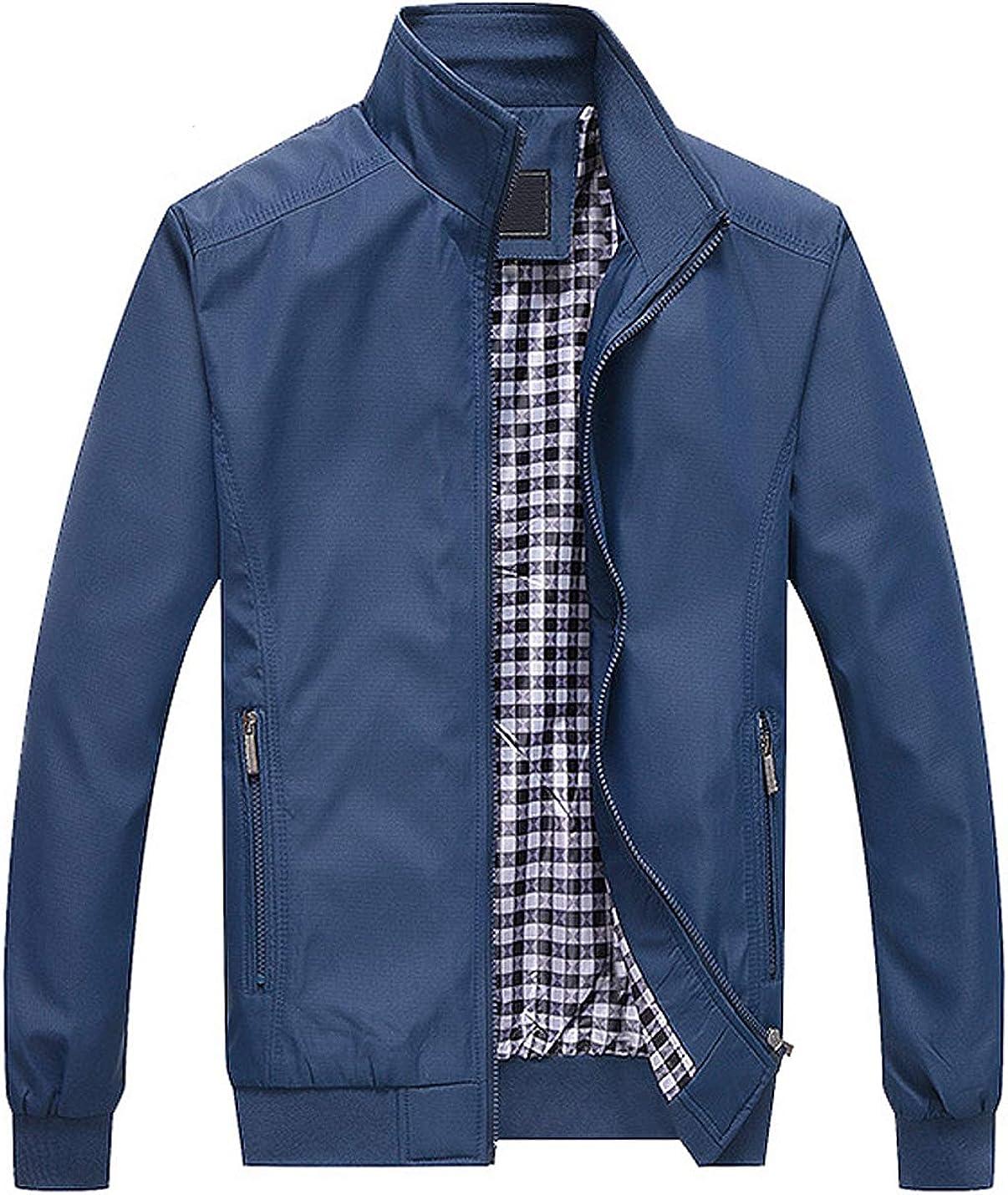 Locachy Men's Flight Bomber Jacket Casual Outdoor Active Lightweight Softshell Zipper Jacket Coat