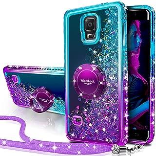 Galaxy S5 Case, Silverback Moving Liquid Holographic Sparkle Glitter Case with Kickstand, Bling Diamond Rhinestone Bumper W/Ring Slim Protective Samsung Galaxy S5 Case for Girls Women -Purple