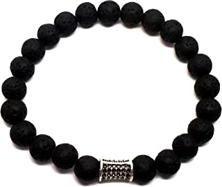 Alwan Black Lava Stone Elastic Bracelet for Men - EE3719TU