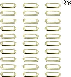 LGEGE 30 Pcs Card Holder Drawer Pull Office Library File Drawer Tag Carbinet Shelves Drawer Name Lable Holder(Color Gold)
