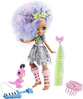 Mattel Cave Club Bashley Doll 10-inch, Lavender Hair Poseable Prehistoric Fashion Doll with Dinosaur Pet and Accessories, Gift for 4 Year Olds and Up [Amazon Exclusive]