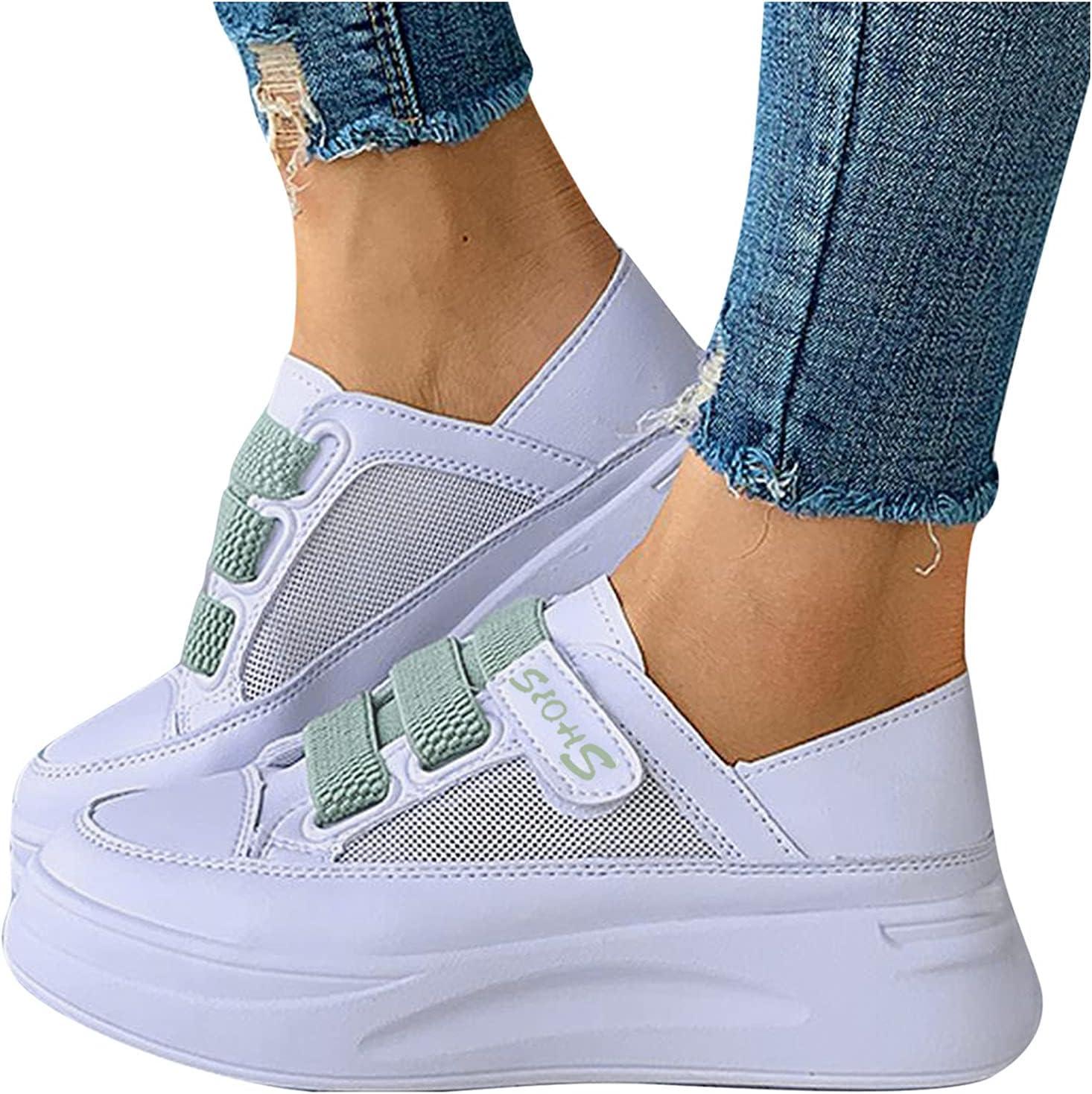 Summer Mesh Velcro Wedge Sneakers Women Casual Hook&Loop Breathable Slip On Shoes Loafers Platform Walking Shoes