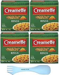 Creamette Small Pasta Rings Bundle: (4) Boxes of Creamettes Small Pasta Rings 7 ounces and (1) and white spork