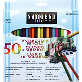 Sargent Art 22-7273 Watercolor Pencil Set, 50 Vibrant Colors