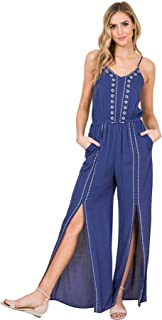f049ff4ec21f Annabelle Sleeveless Long Jumpsuit with Front Slits and Embroidery Detail
