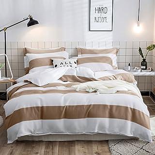 Lausonhouse Cotton Duvet Cover Set,100% Cotton Waffle Woven Stripe Bedding Set,3 Pieces(1 Duvet Cover with 2 Pillowshams)...
