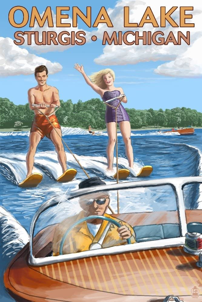Cash special price Omena Lake Sturgis Michigan Water Skiing Boat and 24x Wooden service
