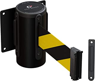 Fixed Wall Mount Retractable Belt Barrier with Black Steel Case- CCW Series WMB-120 (11 Foot, Black and Yellow Belt with Black Steel Case)