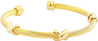 Stainless Steel Women's Bangle Bracelet Cuff Celtic Gold Twisted Rope Cable Linking Accents, 58mm (2.28in) (Universal Fit)