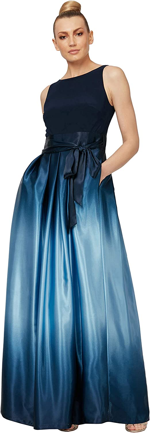 S.L. Fashions Women's Long Satin Ombre Party Dress with Pockets (Missy and Petite)