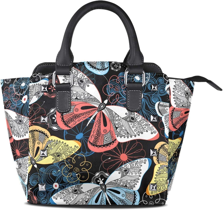 My Little Nest Women's Top Handle Satchel Handbag Fancy Butterflies Ladies PU Leather Shoulder Bag Crossbody Bag