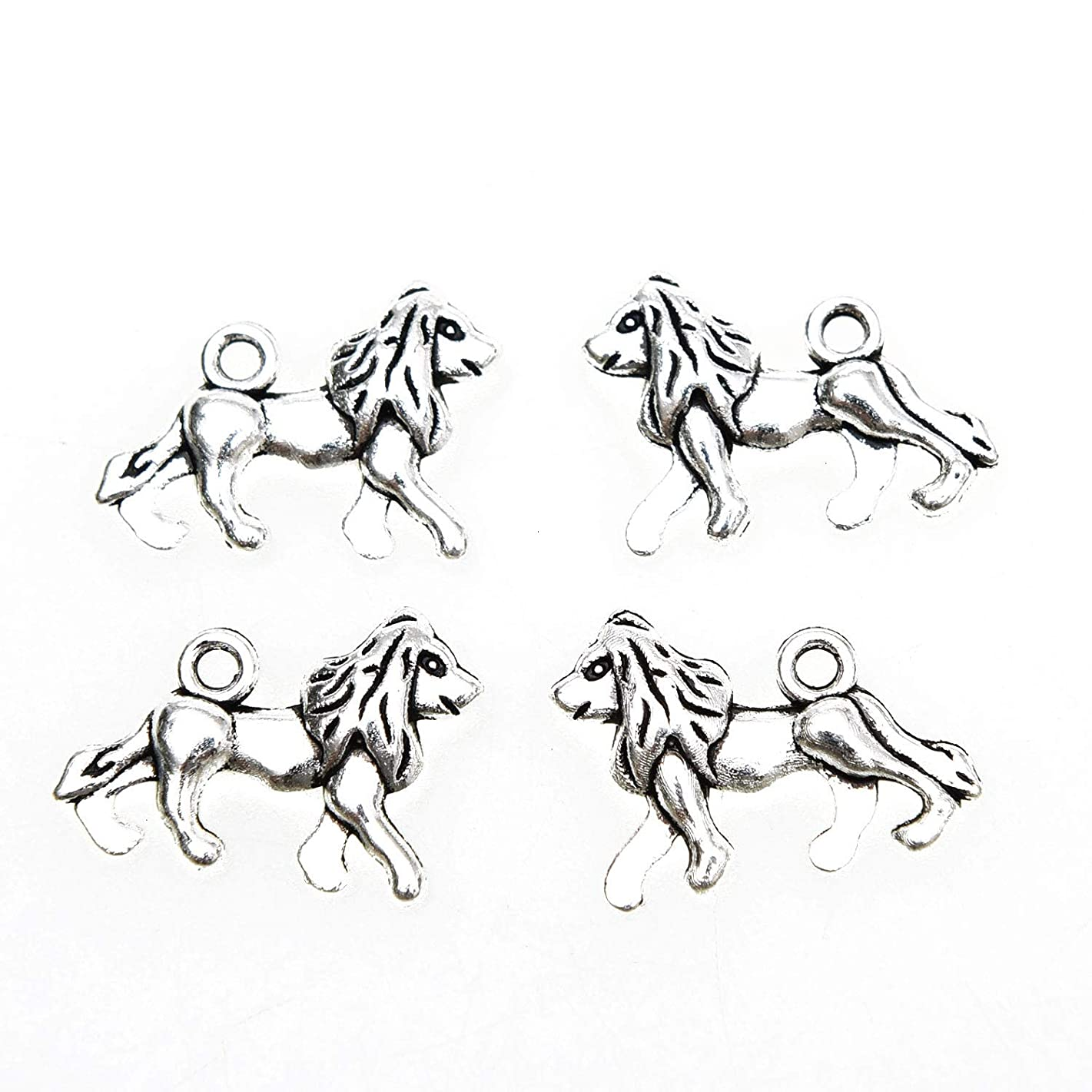 Monrocco 100pcs Antique Silver Alloy Lion Charms Pendant Jewelry Findings Accessories for Necklace Bracelet DIY Jewelry Making(2014mm)