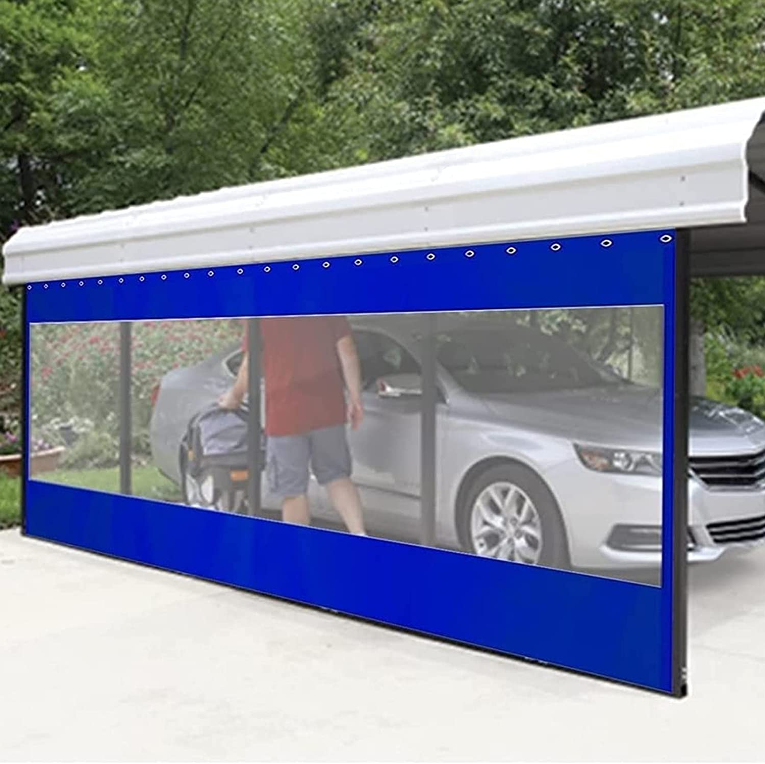 Tarpaulin Outdoor Carport Tent Side New color New life with Panel Grommets Blue Wa