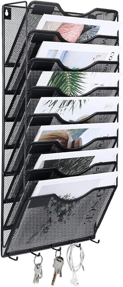 EasyPAG Zeitschriftenhalter aus Metall zum Aufh/ängen an der Wand 3 Tier silber