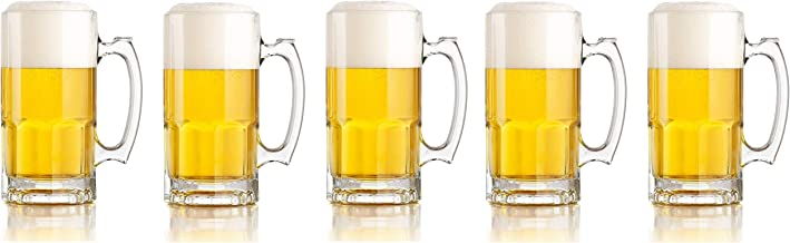 Libbey One Liter German Style Extra Large Glass Beer Stein Super Mug, 34 Ounce (1) (Fivе Расk)