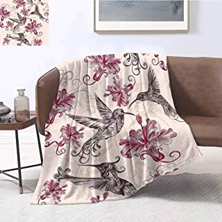 Luoiaax Hummingbirds Decorations Rugged or Durable Camping Blanket Pattern with Birds and Flowers Swirl Flourish Festive Antique Old Style Ornament Warm and Washable W54 x L72 Inch