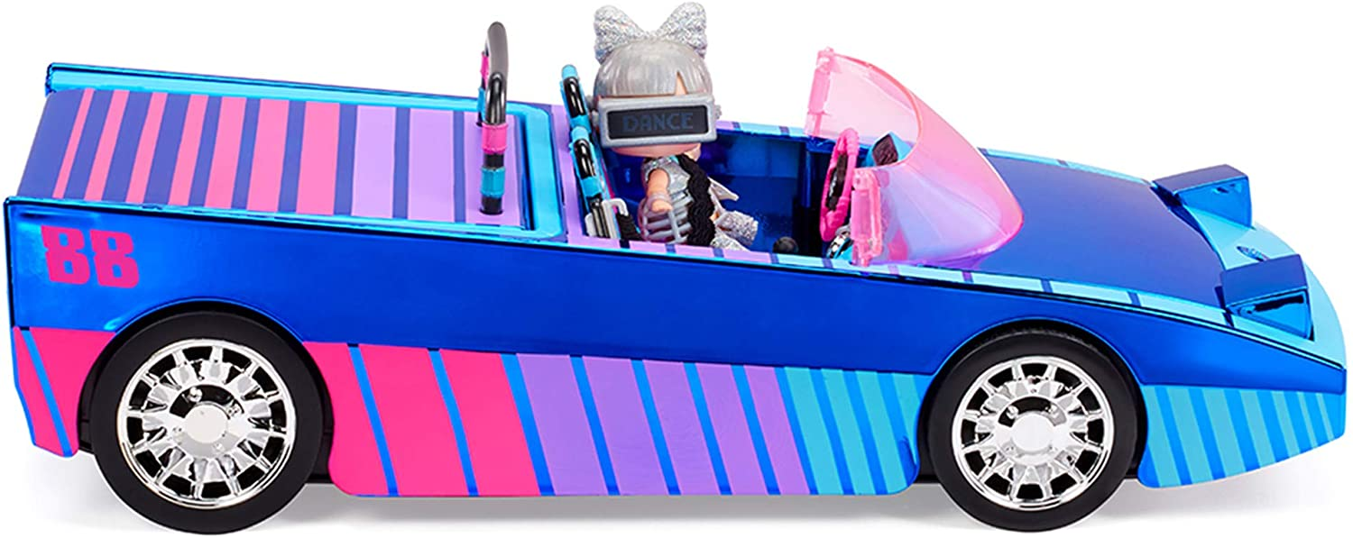 LOL Surprise Dance Machine Car with Exclusive Doll, Surprise Pool and Dance Floor, Multicolor and Magic Blacklight, for Kids