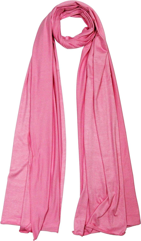 Plain Pink pink Soft Lightweight Rectangle Women's Narrow Jersey Hijab