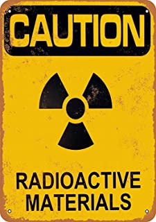 HALEY GAINES Caution Radioactive Materials Placa Cartel Póster de Pared Metal Vintage Cartel de Chapa Decorativas Hojalata Signo para Bar Café Cocinas Los Baños Garajes 20×30cm