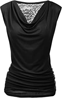 Womens Ruched Cowl Neck Tank Tops Sleeveless Stretch Blouse with Side Shirring