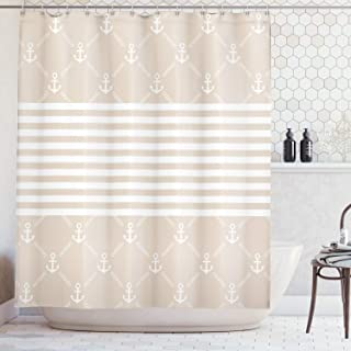 Lunarable Cream Shower Curtain, Classical Nautical Pattern with Anchor and Chain Motifs Checkered and Striped, Cloth Fabric Bathroom Decor Set with Hooks, 105