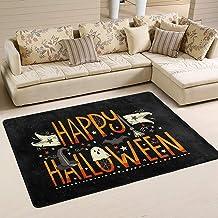 If Not Diseño único de Letras de Happy Halloween Patrón de Estilo Área Interior Alfombra Rectangular, Alfombra, Alfombras Antideslizantes