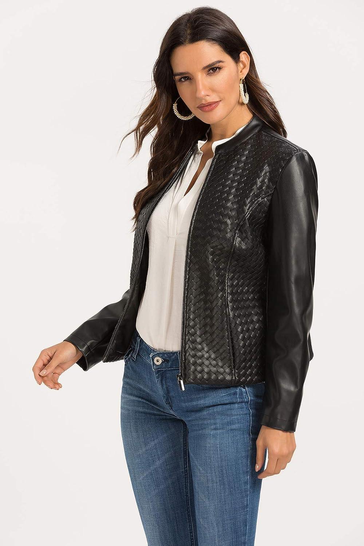 Women's Faux Leather Jacket Zip Up Moto Biker Coat Short PU Leather Jackets Slim Fit