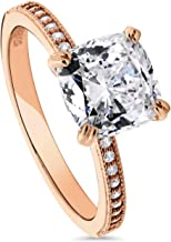 BERRICLE Rose Gold Plated Sterling Silver Cushion Cut Cubic Zirconia CZ Solitaire Engagement Ring 3.11 CTW