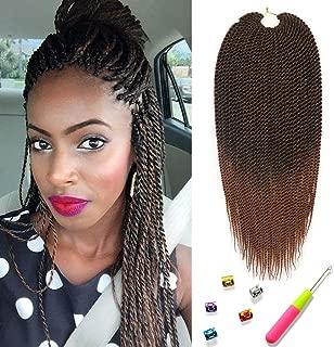 Mirra's Mirror (6Packs)14Inch Ombre Senegalese Box Braids Crochet Hair Braiding Hair Synthetic Havana Mambo Twist Hair Extension 30Strands/Pack (14inch (6packs), T1B/30)