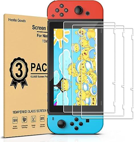 Verre Trempé Nintendo Switch [3 Pièces] Protection d'écran Nintendo Switch - sans Bulles, HD, Anti-Fissures, Dureté 9...