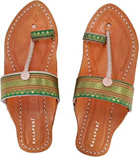 KALAPURI Ladies Kolhapuri Chappal in Genuine Leather with Black Pointed Shape Base and Traditional Green Paithani Lace Upp...