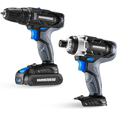 Hammerhead 20V Cordless 2-Tool Combo Kit: Drill and Impact Driver with 1.5Ah Battery and Charger - HCC2020