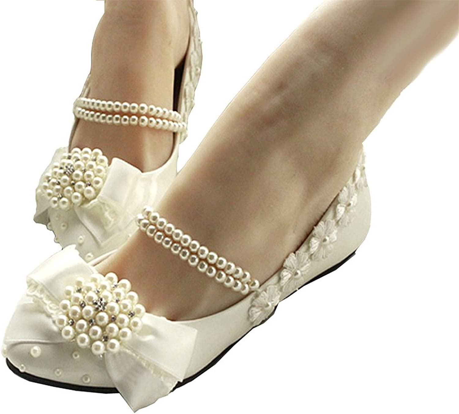 Pilusooou Elegant Women's Mary Jane Flats Pearls Bows Across Tops Dress Wedding shoes