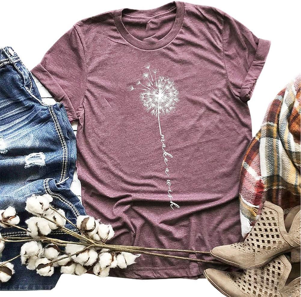 MaQiYa Womens Cute Make A Wish Dandelion Printed Tee Shirts Summer Cotton Vintage Graphic Tees Tops