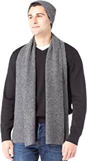 Men's 100% Cashmere Ribbed Knit Hat and Scarf Set; Gift Box