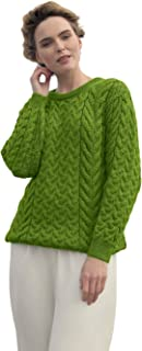 Supersoft Wool Cable & Weave Aran Knit Crew Unisex Sweater