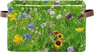 DOMIKING Panier de rangement rectangulaire à fleurs sauvages avec poignées – Rangement pour chambre d'enfant, panier à lin...