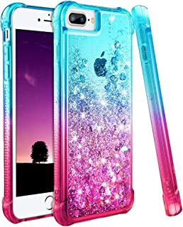Ruky iPhone 7 Plus Case, iPhone 8 Plus Glitter Case, Gradient Quicksand Series Bling Liquid Floating TPU Bumper Cushion Women Girls Case for iPhone 6 Plus 6s Plus 7 Plus 8 Plus (Aqua Pink)