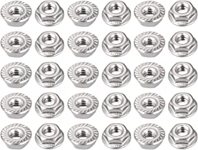 uxcell 1/4-20 Serrated Flange Hex Lock Nuts, 304 Stainless Steel, 30 Pcs