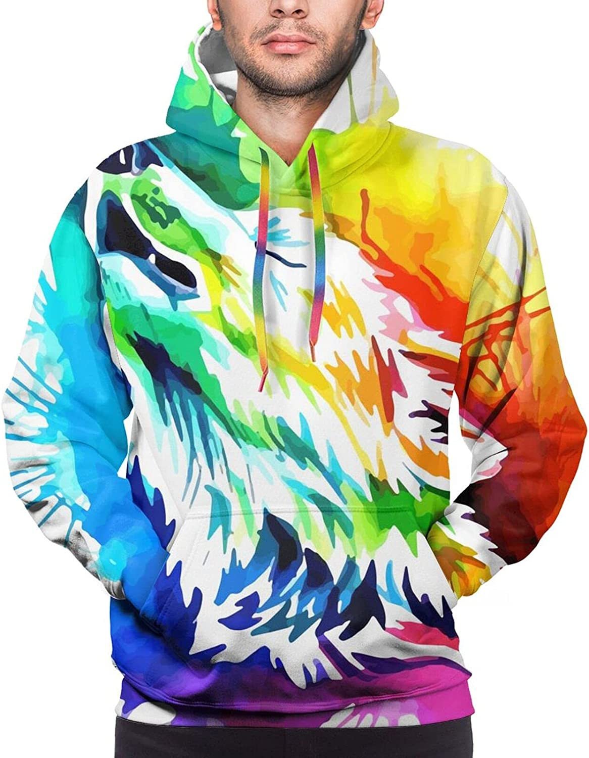Hoodie For Teens Boys Girls Colorful Howling Wolf Hoodies Outdoor Sports Sweater