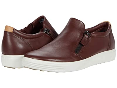 ECCO Soft 7 Side-Zip Sneaker (Chocolate Cow Leather) Women