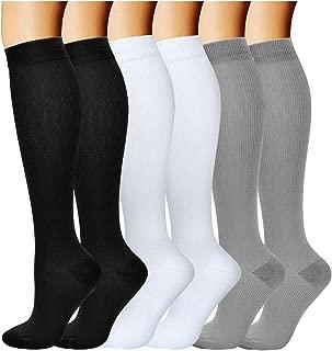 Compression Socks for Men Women 20-30 mmHg for Running Nurses Flight Pregnancy (Black+White+Grey, Large/X-Large)