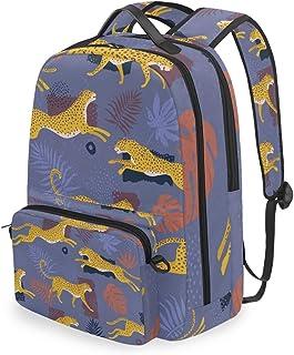 Mochila con Bolsa Cruzada Desmontable, diseño de Leopardo, Hojas Tropicales, Mochila para computadora para Viajes, Senderismo, Camping