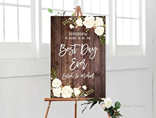 MosesMat41 Tomorrow is Going to Be The Best Day Ever Sign Rustic Rehearsal Dinner Welcome Sign Printable Sign Wood Plaque
