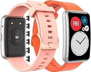 GeeRic Kompatybilna z bransoletką do zegarka Huawei Watch Fit, 2 sztuki, silikonowy pasek kompatybilny z zegarkiem Fit