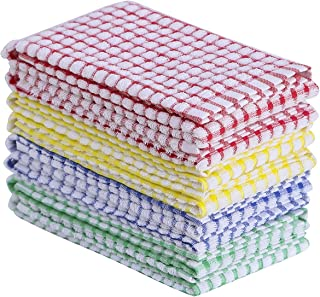 Oeleky Dish Towels for Kitchen 15x26 Inches, Pack of 8 Cotton Kitchen Towels for Drying Dishes, Absorbent Tea Towels (Mult...