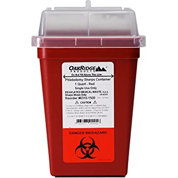 OakRidge Products 1 Quart Size Sharps and Biohazard Disposal Container,