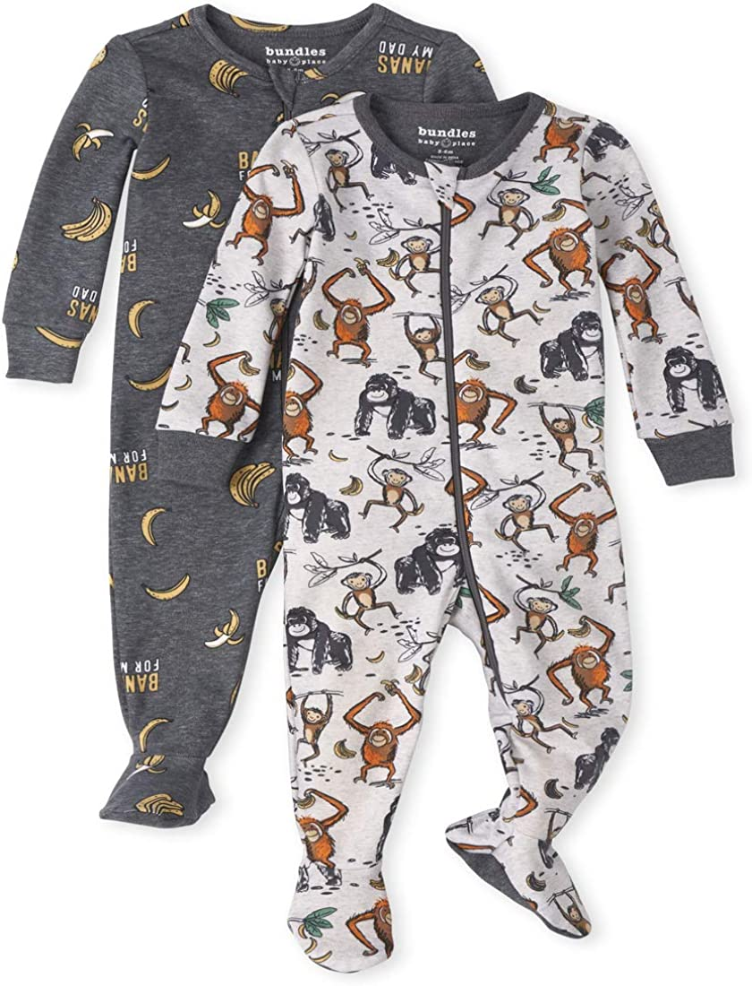 The Childrens Place Boys Baby and Toddler Moms Little Man Snug Fit Cotton One Piece Pajamas